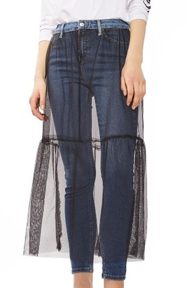 Women's Topshop Jamie Tulle Overlay Skinny Jeans $90 thestylecure.com