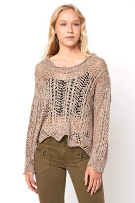 Raina Black Swan Pointelle Open Knit Sweater