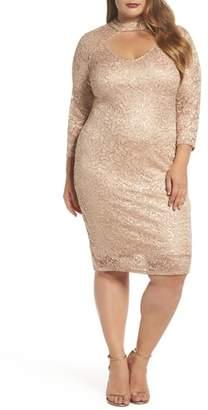 Marina Choker Neck Lace Sheath Dress
