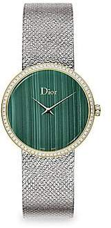 Christian Dior Women's La D De 36MM Malachite & Diamond Satine Watch