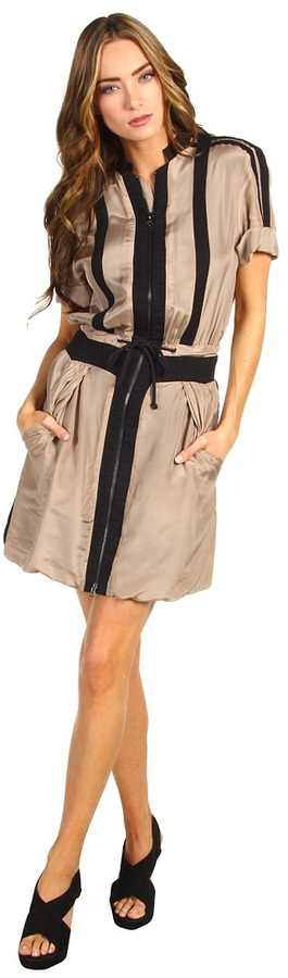 See by Chloe Drawstring Faux Collar Dress (Brown) - Apparel