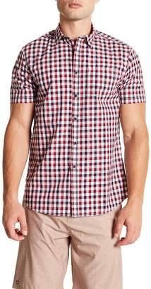 Micros Boysenberry Short Sleeve Woven Dobby Plaid Shirt