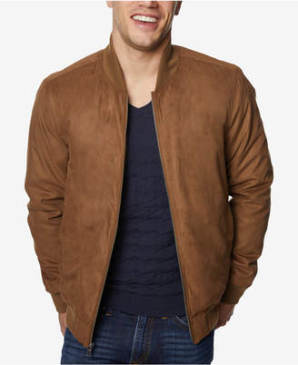Perry Ellis Men's Microsuede Varsity Bomber Jacket