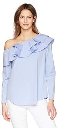 Calvin Klein Women's Long Sleeve One Shoulder Ruffle Blouse