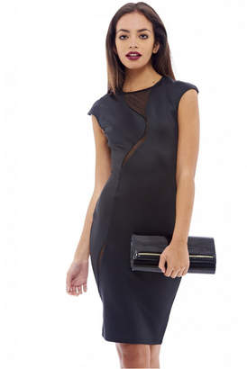 AX Paris Capped Sleeve Mesh Insert Midi Dress