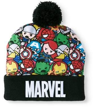 Marvel Comics Kawaii Juniors' Knitted Marvel Kawaii Characters Cuff Beanie with Pom
