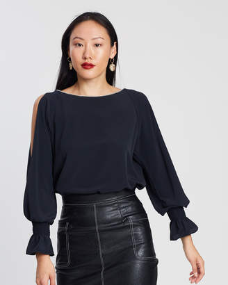 Dorothy Perkins Embellished Neck Split Long Sleeve Top