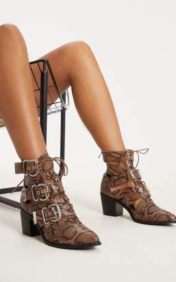 PrettyLittleThing Tan Triple Buckle Cut Out Western Boot