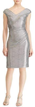 Lauren Ralph Lauren Metallic V-Neck Cocktail Dress