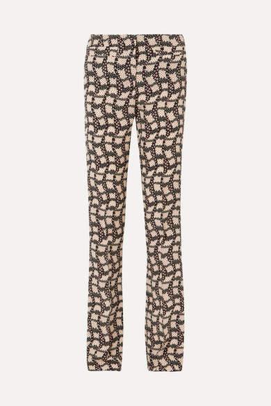 Prada - Printed Silk Crepe De Chine Flared Pants - Black