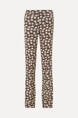 Prada Printed Silk Crepe De Chine Flared Pants - Black