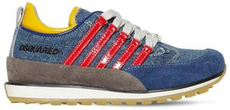 DSQUARED2 251 Denim Effect Sneakers W/ Stripes