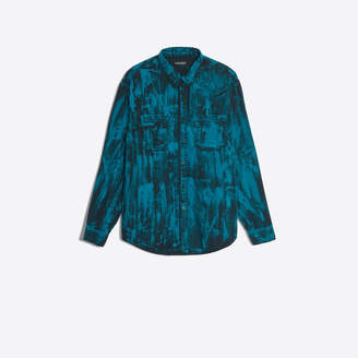 Balenciaga Long denim shirt with bleach overdye green