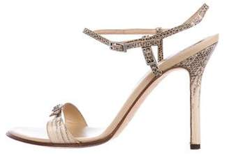Sergio Rossi Snakeskin Round-Toe Sandals