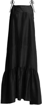 LOUP CHARMANT Kalahari tie-shoulder sandwashed-silk dress
