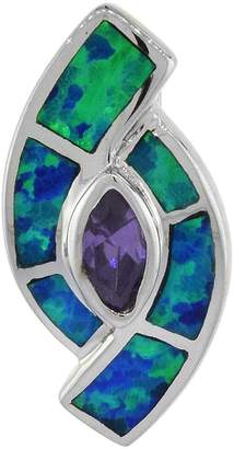 Sabrina Silver Sterling Silver Amethyst CZ Pendant Synthetic Opal Inlay Center 3/4 inch long
