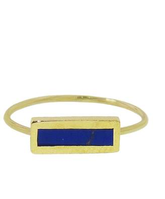 Jennifer Meyer Short Inlay Lapis Bar Ring - Yellow Gold