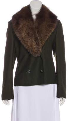 Michael Kors Fur-Trimmed Virgin Wool Jacket