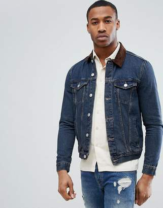 New Look Denim Jacket With Corduroy Collar In Mid Wash