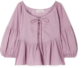 Apiece Apart Isak Lace-up Cotton-voile Peplum Top - Lavender