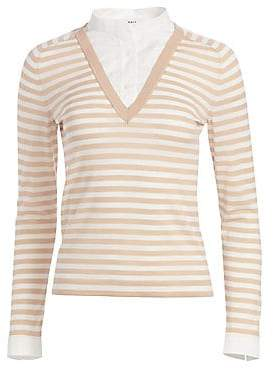 Akris Punto Women's Illusion Collar Striped Sweater Top