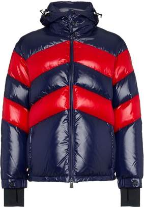 Moncler striped feather down nylon hooded jacket