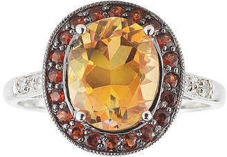 JCPenney FINE JEWELRY Color-Enhanced Orange Topaz, Garnet & White Sapphire Ring