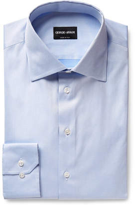 Giorgio Armani Light-Blue Cotton-Twill Shirt - Men - Light blue
