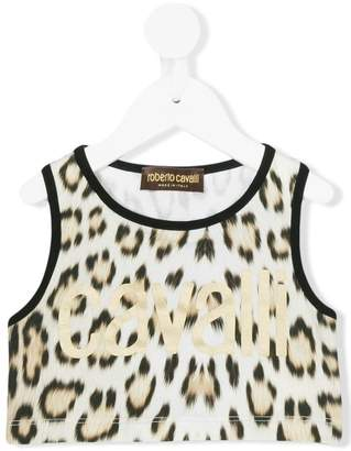 Roberto Cavalli Junior leopard print crop top