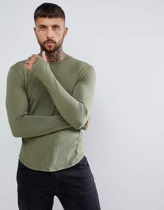 Religion Muscle Fit Long Sleeve T-Shirt In Khaki With Drop Hem