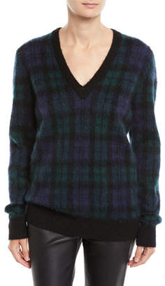 Michael Kors V-Neck Long-Sleeve Tartan Pullover Sweater w/ Calf Hair Patches