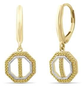 Jewelersclub JewelersClub 1/7 Carat T.W. Yellow Diamond Two Tone Silver Octagon Earrings