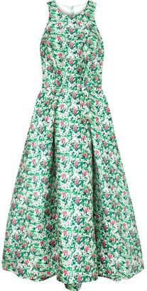 Monique Lhuillier Floral-print Satin Gown - Green