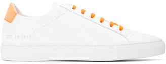 Common Projects White and Orange Original Achilles Retro Low Sneakers
