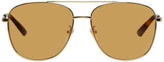 Gucci Gold and Brown Navigator Sunglasses