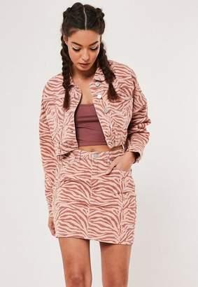 Missguided Blush Co Ord Zebra Print Cropped Denim Jacket