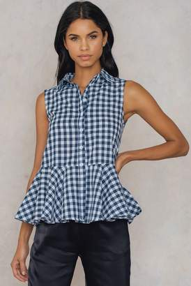 Shein Ruffle Trim Gingham Blouse