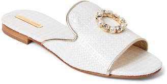 Emanuela Caruso White Embellished Slide Sandals