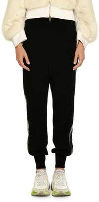 Stella McCartney Pull-On Jogger-Style Pants with Leather Side Stripe
