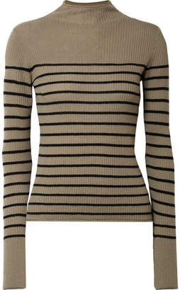 Vince Striped Ribbed Cashmere Sweater - Army green