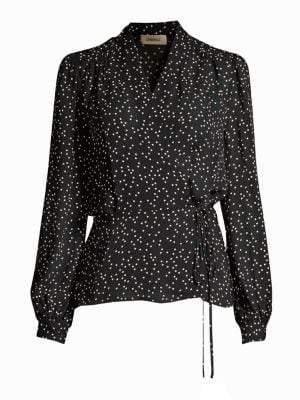 L'Agence Women's Cara Polka Dot Wrap Blouse - Black Ivory - Size XS