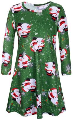 Soficy Women Long Sleeves Xmas Snowman Print Christmas Flared Swing Dress Top Green