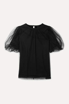 Marc Jacobs Evening Layered Swiss-dot Tulle And Cotton-jersey Top - Black