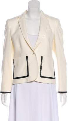 Band Of Outsiders Leather-Trimmed Wool Blazer