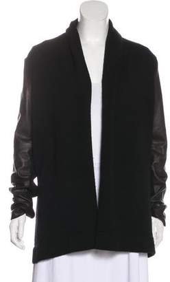 Vince Wool-Blend Leather-Paneled Cardigan
