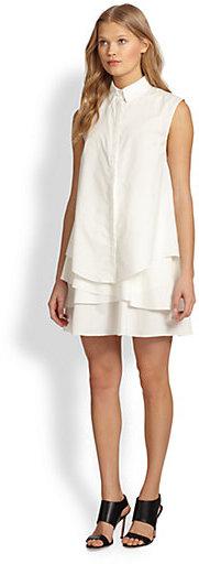 Derek Lam 10 Crosby Asymmetrical Tiered-Hem Sleeveless Shirtdress