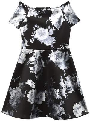 Love...Ady Metallic Floral Skater Dress (Big Girls)