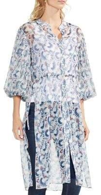 Vince Camuto Sapphire Bloom Printed Tunic