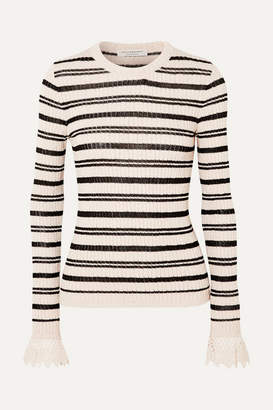 Philosophy di Lorenzo Serafini Crochet-trimmed Striped Ribbed Cotton-blend Sweater - Ecru