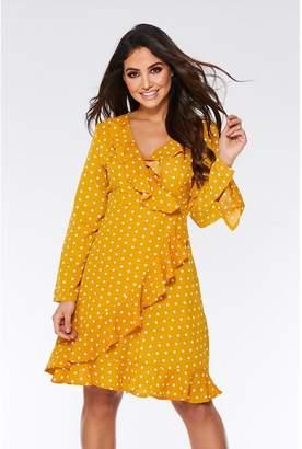 Quiz Mustard and Cream Polka Dot Frill Dress
